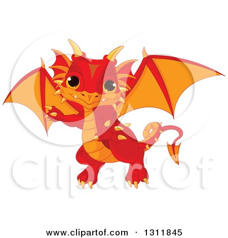 Clipart of a Cute Red and Orange Baby Dragon Pointing - Royalty Free Vector Illustration by Pushkin