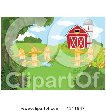 Clipart of a Red Barn and Silo in a Pasture with a Picket Wood Fence and Hills - Royalty Free Vector Illustration by Pushkin