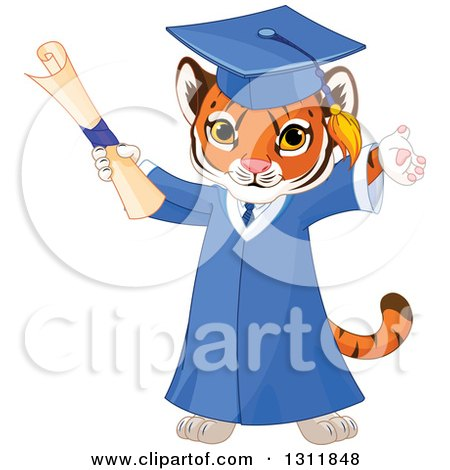 Clipart of a Cute Playful Tiger Cub Graduate Cheering in a Cap and Gown and Holding a Diploma - Royalty Free Vector Illustration by Pushkin