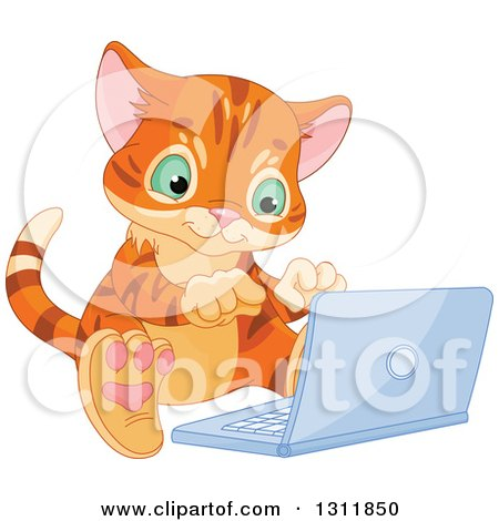 Clipart of a Cute Ginger Kitten Using a Laptop on the Floor - Royalty Free Vector Illustration by Pushkin