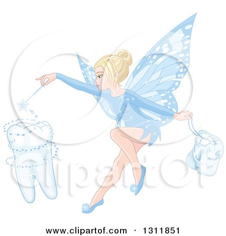 Clipart of a Blond White Female Tooth Fairy Using Her Wand to Create a Molar and Holding a Bag - Royalty Free Vector Illustration by Pushkin