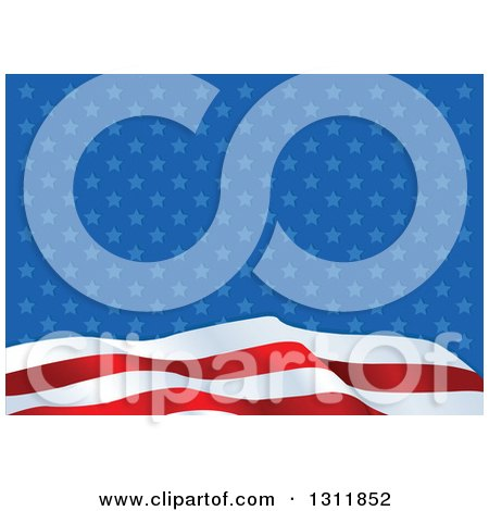 Clipart of a Patriotic American Stripes Wave over Star Pattern Background - Royalty Free Vector Illustration by Pushkin