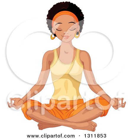 Clipart of a Beautiful Young Black Woman Meditating in the Lotus Pose - Royalty Free Vector Illustration by Pushkin