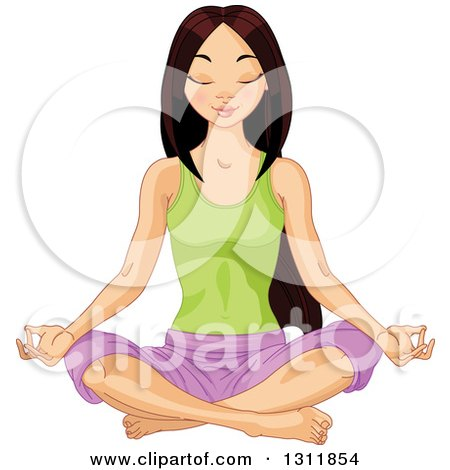 Clipart Of A Beautiful Young Asian Woman Meditating In The Lotus Pose Royalty Free Vector Illustration