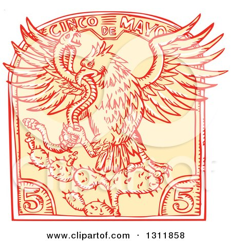Clipart of a Sketched Eagle Attacking a Rattlesnake on a Cactus in a Cinco De Mayo Design - Royalty Free Vector Illustration by patrimonio
