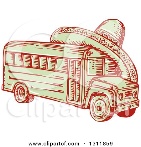 Clipart of a Sketched Red and Green Bus with a Sombrero on Top - Royalty Free Vector Illustration by patrimonio