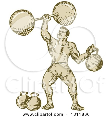 Clipart of a Sketched Retro Strongman Lifting a Barbell and Holding a Kettlebell - Royalty Free Vector Illustration by patrimonio