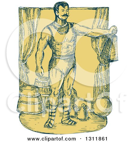 Clipart of a Sketched Blue and Yellow Cirus Strongman Holding a Weight on Stage - Royalty Free Vector Illustration by patrimonio