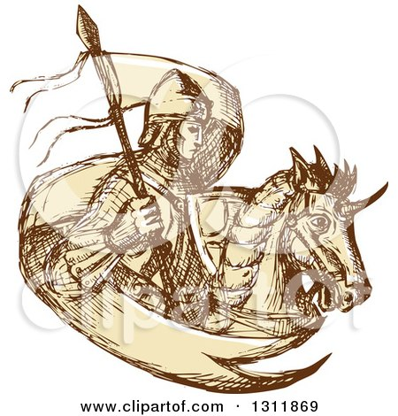 Clipart of a Sketched Knight with a Flag and Horse - Royalty Free Vector Illustration by patrimonio