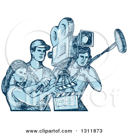 Clipart of a Blue Sketch of Film Crew Clapper Board, Sound Man and Camera Man Workers - Royalty Free Vector Illustration by patrimonio
