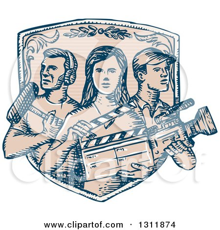 Clipart of a Sketched Shield with Film Crew Workers - Royalty Free Vector Illustration by patrimonio