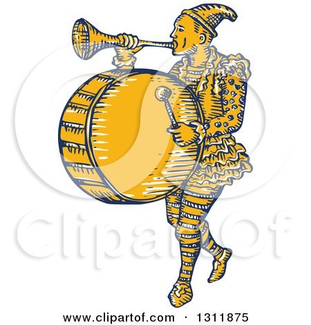 Clipart of a Retro Sketched Clown Playing a Trumpet and Drum - Royalty Free Vector Illustration by patrimonio