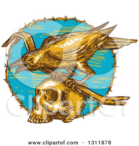 Clipart of a Sketched Raven with a Crow Bar on Top of a Skull in a Barbed Wire Circle - Royalty Free Vector Illustration by patrimonio