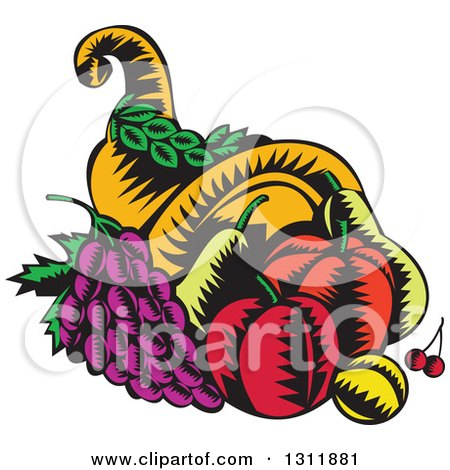Clipart of a Retro Woodcut Cornucopia Basket with Apples, Grapes, Cherries and a Plum - Royalty Free Vector Illustration by patrimonio