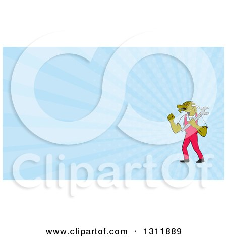 Clipart of a Cartoon Dragon Man Plumber Holding a Monkey Wrench and Doing a Fist Pump and Blue Rays Background or Business Card Design - Royalty Free Illustration by patrimonio