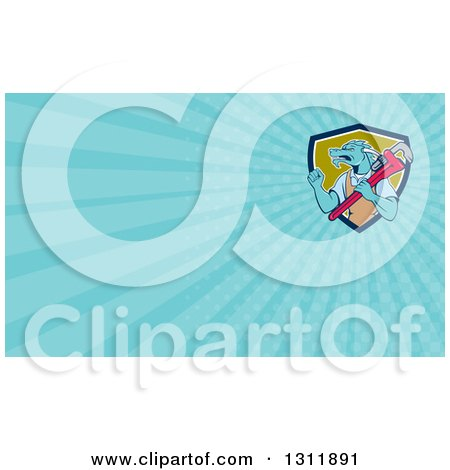 Clipart of a Cartoon Dragon Man Plumber Holding a Monkey Wrench and Doing a Fist Pump and Light Blue Rays Background or Business Card Design - Royalty Free Illustration by patrimonio