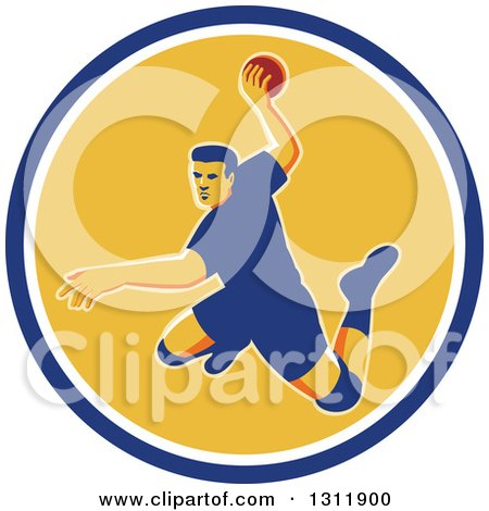 Clipart of a Retro Jumping Male Handball Player Preparing to Throw the Ball in a Blue White and Yellow Circle - Royalty Free Vector Illustration by patrimonio