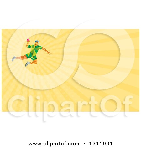 Clipart of a Retro Low Poly Geometric Male Handball Player Jumping and Yellow Rays Background or Business Card Design - Royalty Free Illustration by patrimonio