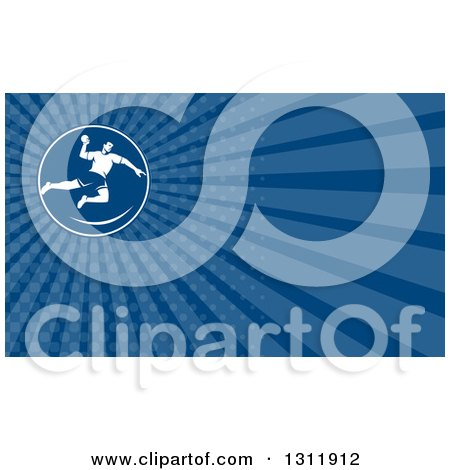 Clipart of a Retro Male Handball Player and Blue Rays Background or Business Card Design - Royalty Free Illustration by patrimonio