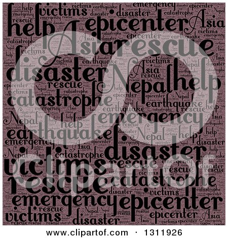 Clipart of a Vintage Nepal Earthquake Word Tag Collage - Royalty Free Vector Illustration by oboy