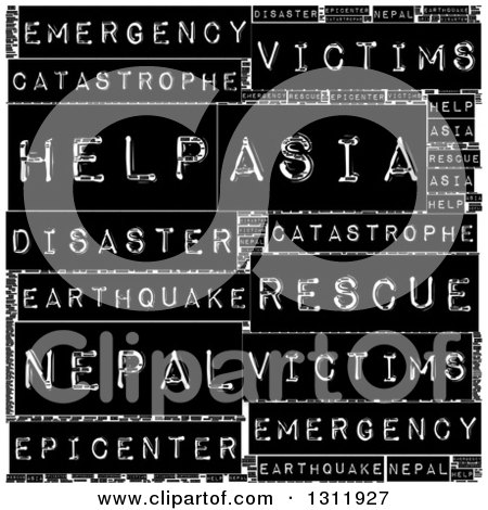 Clipart of a Nepal Earthquake Word Tag Collage on Black - Royalty Free Vector Illustration by oboy