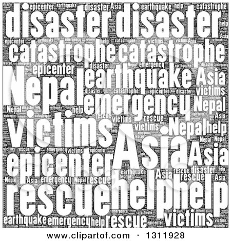 Clipart of a Black and White Nepal Earthquake Word Tag Collage - Royalty Free Vector Illustration by oboy