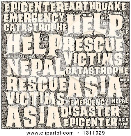 Sepia Nepal Earthquake Word Tag Collage Posters, Art Prints