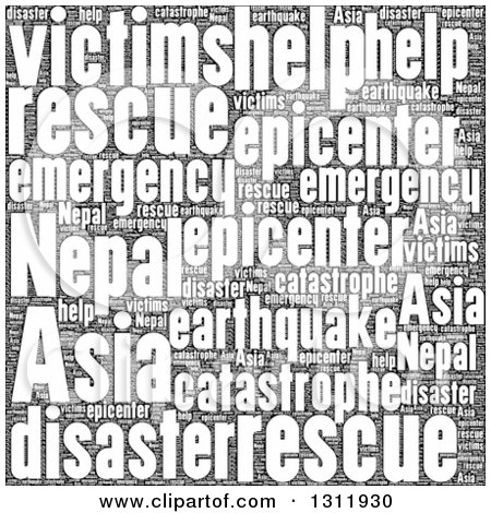 Clipart of a Black and White Nepal Earthquake Word Tag Collage 2 - Royalty Free Vector Illustration by oboy