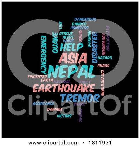 Clipart of a Purple Pink and Blue Nepal Earthquake Word Tag Collage on Black - Royalty Free Vector Illustration by oboy