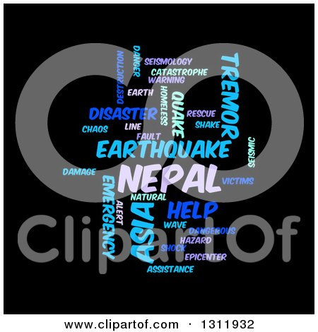 Clipart of a Purple and Blue Nepal Earthquake Word Tag Collage on Black - Royalty Free Vector Illustration by oboy