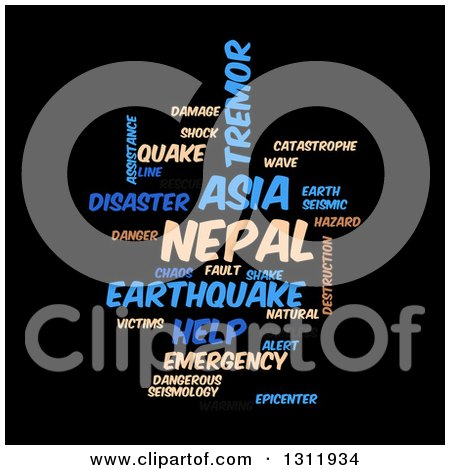 Clipart of a Tan and Blue Nepal Earthquake Word Tag Collage on Black 2 - Royalty Free Vector Illustration by oboy