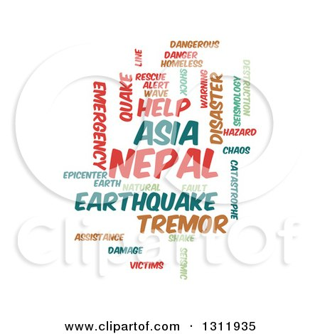 Clipart of a Nepal Earthquake Word Tag Collage on White - Royalty Free Vector Illustration by oboy
