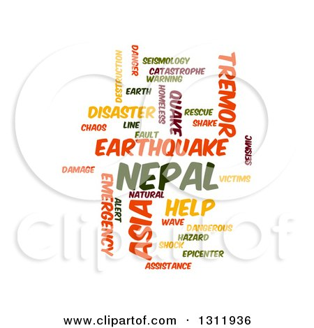 Clipart of a Nepal Earthquake Word Tag Collage on White 2 - Royalty Free Vector Illustration by oboy