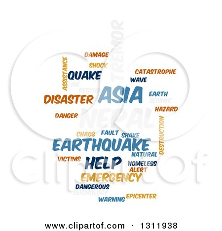 Clipart of a Nepal Earthquake Word Tag Collage on White 5 - Royalty Free Vector Illustration by oboy