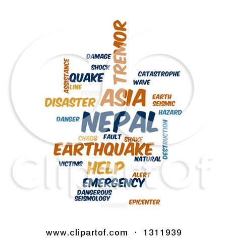Clipart of a Nepal Earthquake Word Tag Collage on White 4 - Royalty Free Vector Illustration by oboy
