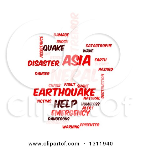 Clipart of a Red and Pink Nepal Earthquake Word Tag Collage on White - Royalty Free Vector Illustration by oboy