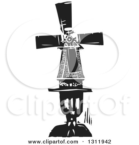 Clipart of a Black and White Woodcut Dutch Windmill on a Man's Head - Royalty Free Vector Illustration by xunantunich