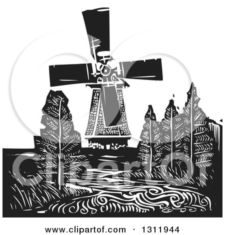 Black and White Woodcut Dutch Windmill with Trees and a River Posters, Art Prints