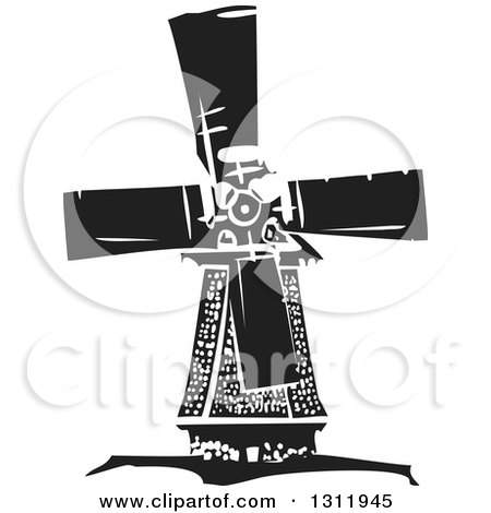 Clipart of a Black and White Woodcut Dutch Windmill - Royalty Free Vector Illustration by xunantunich