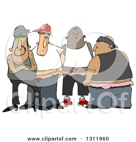 Clipart of a Group of Tattooed White, Black and Hispanic Gangsters with Saggy Pants - Royalty Free Illustration by djart