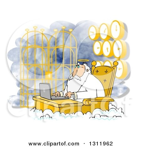 Clipart of Jesus Working on a Laptop at Heavens Gates, with Clocks Behind Him - Royalty Free Illustration by djart