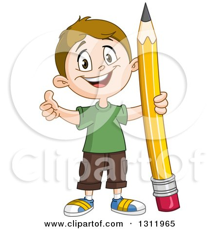 Clipart of a Happy White School Boy Holding a Thumb up and Giant Pencil - Royalty Free Vector Illustration by yayayoyo