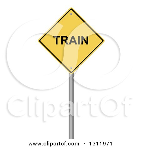 Clipart of a 3d Yellow TRAIN Warning Sign, on White - Royalty Free Illustration by oboy