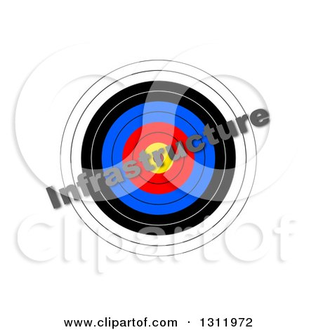 Clipart of a 3d Target with Diagonal INFRASTRUCTURE Text over It, on White - Royalty Free Illustration by oboy