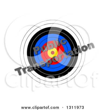 Clipart of a 3d Target with Diagonal PUBLIC TRANSPORTATION Text over It, on White - Royalty Free Illustration by oboy