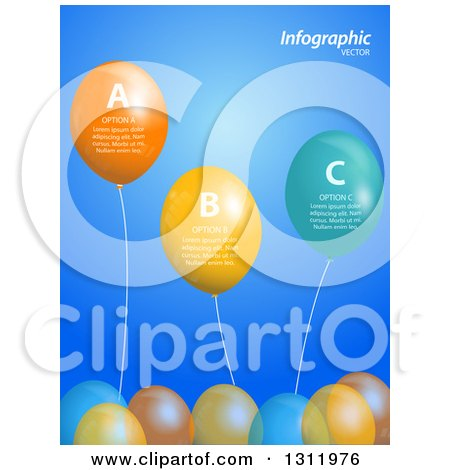 Clipart of a Background of 3d Party Balloons with Infographic Sample Text over Blue - Royalty Free Vector Illustration by elaineitalia