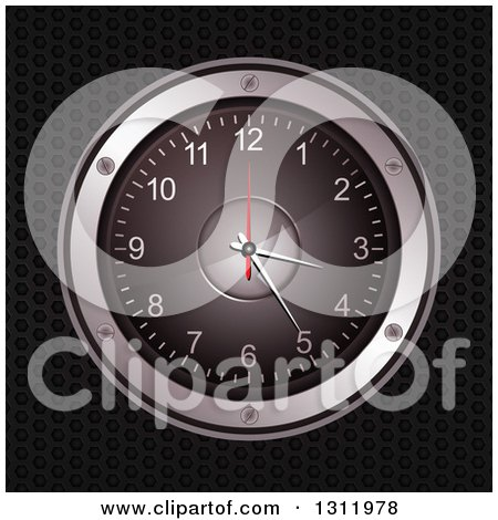 Clipart of a 3d Music Speaker Clock over Black Perforated Metal - Royalty Free Vector Illustration by elaineitalia