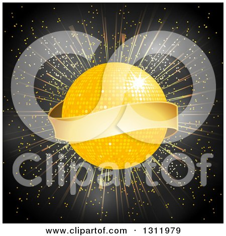 Clipart of a 3d Blank Gold Banner Around a Disco Ball on a Burst and Black - Royalty Free Vector Illustration by elaineitalia