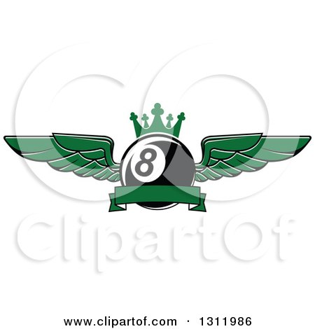 Clipart of a Green Winged and Crowned Eightball with a Blank Ribbon Banner - Royalty Free Vector Illustration by Vector Tradition SM