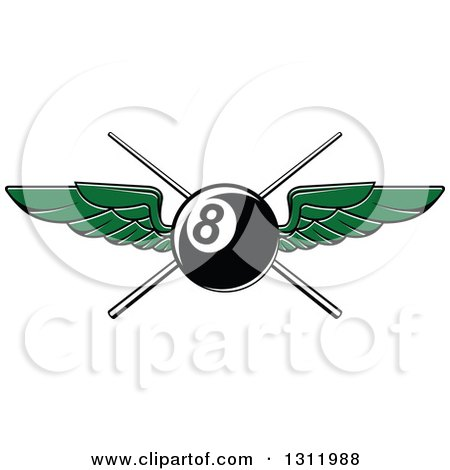 Clipart of a Green Winged Eightball over Crossed Cue Sticks - Royalty Free Vector Illustration by Vector Tradition SM